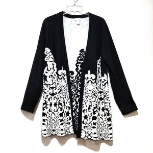 Chico's black & white women's open front cardigan